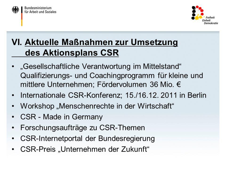 VI. Aktuelle Maßnahmen zur Umsetzung des Aktionsplans CSR Gesellschaftliche Verantwortung im Mittelstand Qualifizierungs- und Coachingprogramm für kle