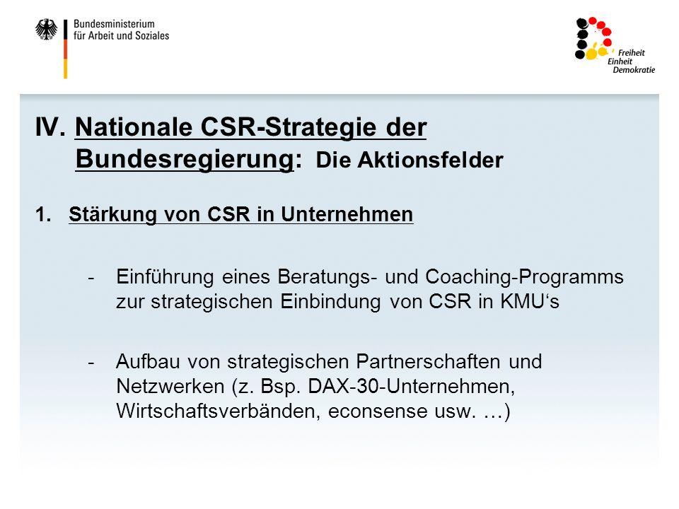 IV. Nationale CSR-Strategie der Bundesregierung: Die Aktionsfelder 1.Stärkung von CSR in Unternehmen -Einführung eines Beratungs- und Coaching-Program
