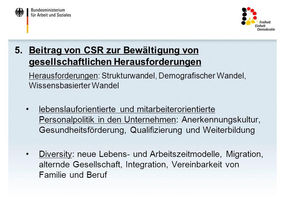6.Schaffung eines CSR-förderlichen Umfelds -Festigung und Weiterentwicklung des Kriteriums der Nachhaltigkeit in der öffentlichen Beschaffung -CSR-Berichte der Bundesressorte: BMAS ist erstes Ministerium, das nach GRI-Kriterien berichtet.