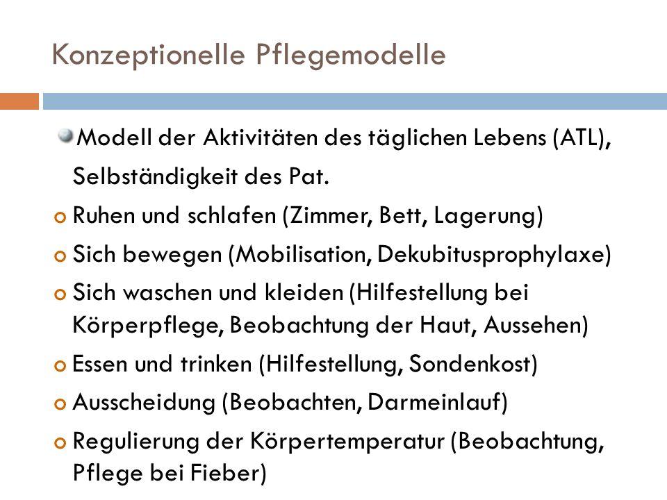 Konzeptionelle Pflegemodelle Modell der Aktivitäten des täglichen Lebens (ATL), Selbständigkeit des Pat.