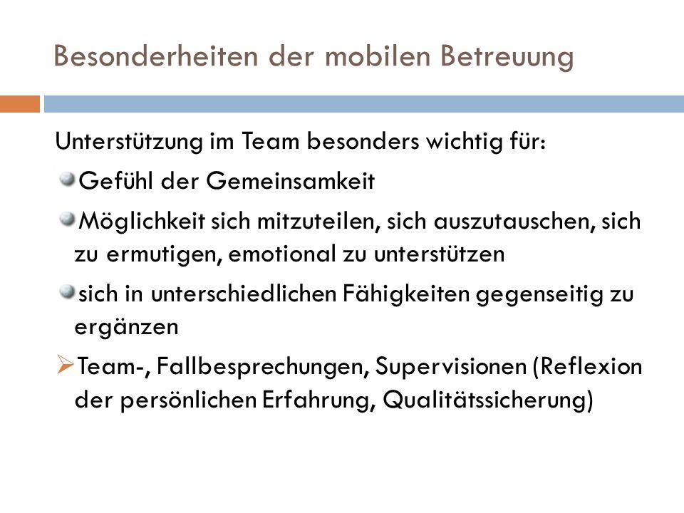 Besonderheiten der mobilen Betreuung Unterstützung im Team besonders wichtig für: Gefühl der Gemeinsamkeit Möglichkeit sich mitzuteilen, sich auszutauschen, sich zu ermutigen, emotional zu unterstützen sich in unterschiedlichen Fähigkeiten gegenseitig zu ergänzen Team-, Fallbesprechungen, Supervisionen (Reflexion der persönlichen Erfahrung, Qualitätssicherung)