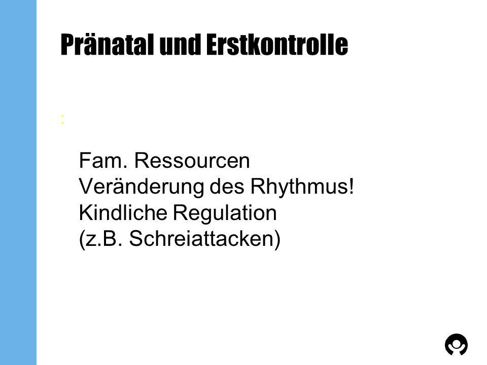 Pränatal und Erstkontrolle : Fam. Ressourcen Veränderung des Rhythmus! Kindliche Regulation (z.B. Schreiattacken)