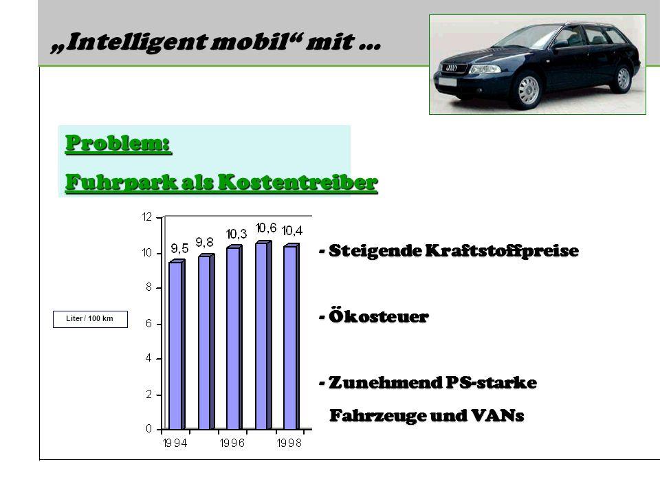 Intelligent mobil mit … Problem: Fuhrpark als Kostentreiber Liter / 100 km - Steigende Kraftstoffpreise - Ökosteuer - Zunehmend PS-starke Fahrzeuge und VANs Fahrzeuge und VANs