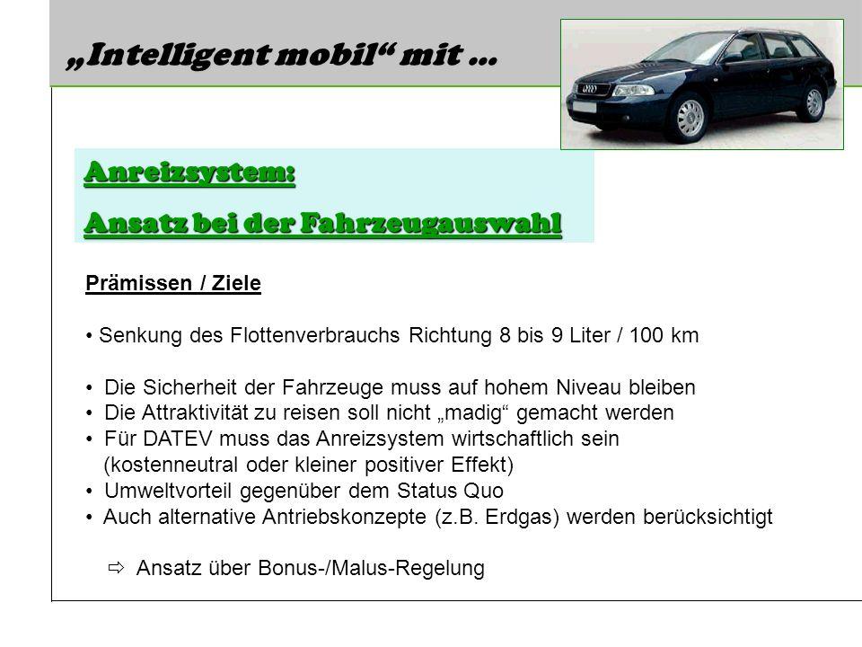 Intelligent mobil mit … Anreizsystem: Ansatz bei der Fahrzeugauswahl Prämissen / Ziele Senkung des Flottenverbrauchs Richtung 8 bis 9 Liter / 100 km D
