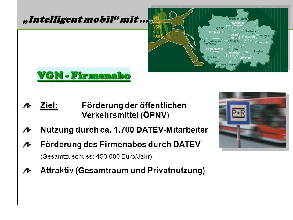 Intelligent mobil mit … Ziel: Ziel: Förderung der öffentlichen Verkehrsmittel (ÖPNV) Nutzung durch ca. 1.700 DATEV-Mitarbeiter Förderung des Firmenabo