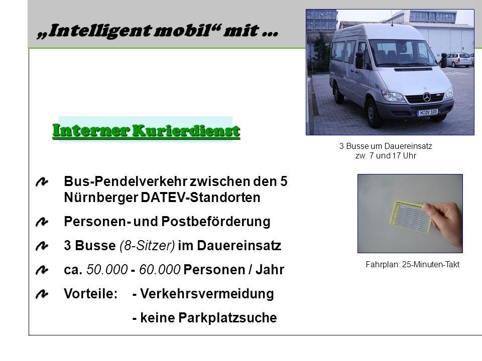 Intelligent mobil mit … Bus-Pendelverkehr zwischen den 5 Nürnberger DATEV-Standorten Personen- und Postbeförderung 3 Busse (8-Sitzer) im Dauereinsatz