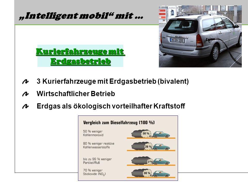 Intelligent mobil mit … 3 Kurierfahrzeuge mit Erdgasbetrieb (bivalent) Wirtschaftlicher Betrieb Erdgas als ökologisch vorteilhafter Kraftstoff Kurierf