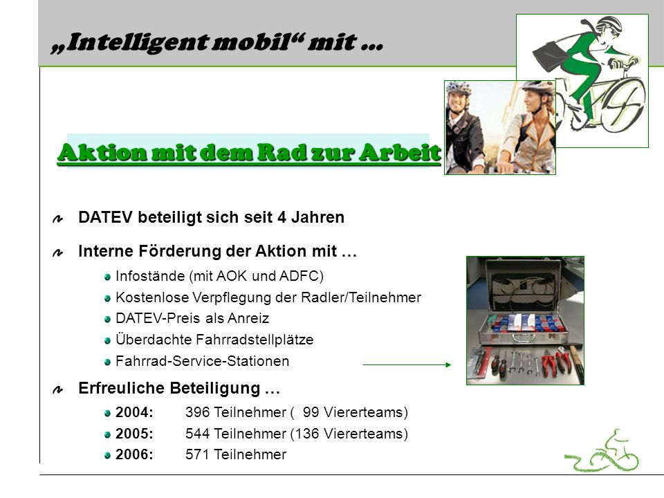 Intelligent mobil mit … DATEV beteiligt sich seit 4 Jahren Interne Förderung der Aktion mit … Infostände (mit AOK und ADFC) Kostenlose Verpflegung der