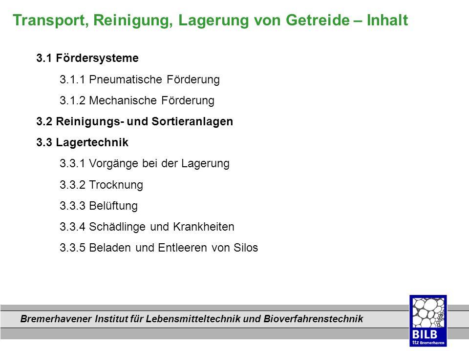 Bremerhavener Institut für Lebensmitteltechnik und Bioverfahrenstechnik Dateinamen Transport, Reinigung, Lagerung von Getreide – Inhalt 3.1 Fördersyst