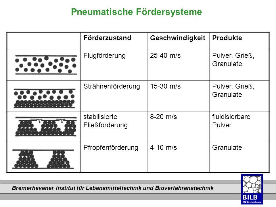 Bremerhavener Institut für Lebensmitteltechnik und Bioverfahrenstechnik Dateinamen Pneumatische Fördersysteme FörderzustandGeschwindigkeitProdukte Flu