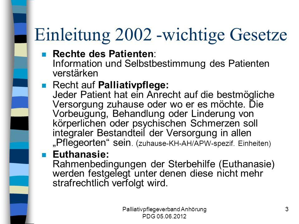 Palliativpflegeverband Anhörung PDG 05.06.2012 14 Herausforderung in Zukunft n Absicherung Finanzierung einschl.
