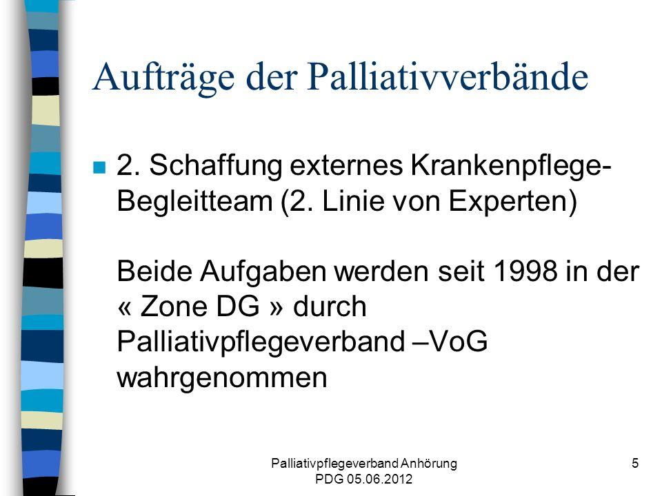 Palliativpflegeverband Anhörung PDG 05.06.2012 16 Herausforderung in Zukunft n Patientenbetreuung Grenzgemeinden FG sollte möglich bleiben & finanziert n Grenzproblematik – Patienten ohne belg.