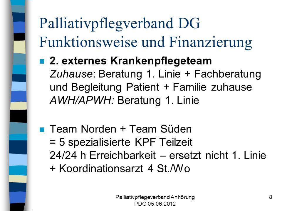 Palliativpflegeverband Anhörung PDG 05.06.2012 8 Palliativpflegverband DG Funktionsweise und Finanzierung n 2.