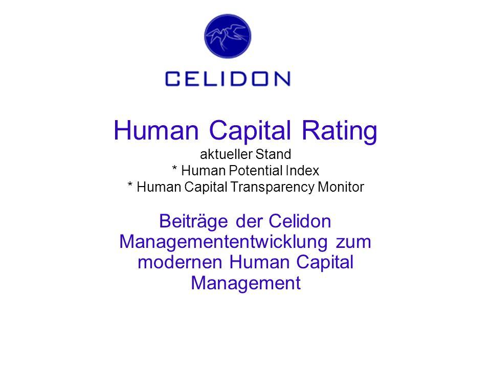 Human Capital Rating aktueller Stand * Human Potential Index * Human Capital Transparency Monitor Beiträge der Celidon Managemententwicklung zum moder