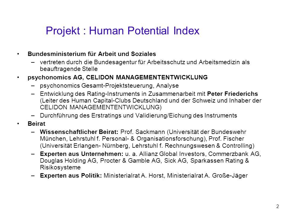 Projekt : Human Potential Index Bundesministerium für Arbeit und Soziales –vertreten durch die Bundesagentur für Arbeitsschutz und Arbeitsmedizin als