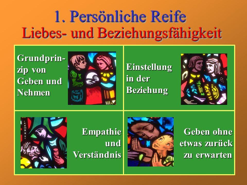 Liebes- und Beziehungsfähigkeit 1. Persönliche Reife Grundprin- zip von Geben und Nehmen Einstellung in der Beziehung Empathie und Verständnis Geben o