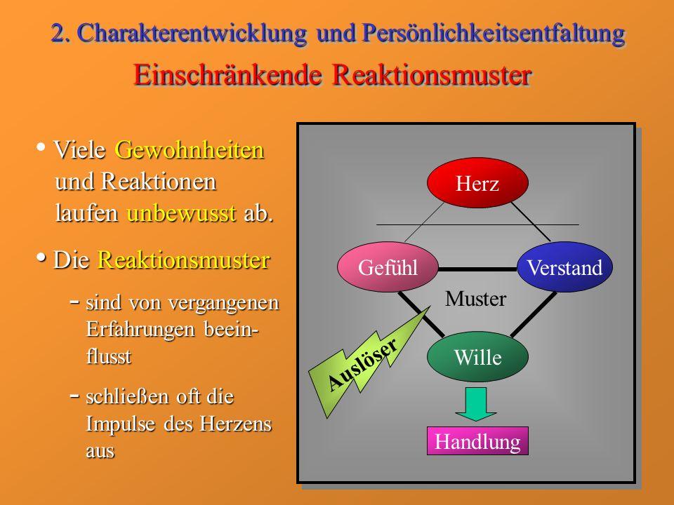 Einschränkende Reaktionsmuster Herz GefühlVerstand Wille Handlung Muster Auslöser Viele Gewohnheiten und Reaktionen laufen unbewusst ab. Die Reaktions