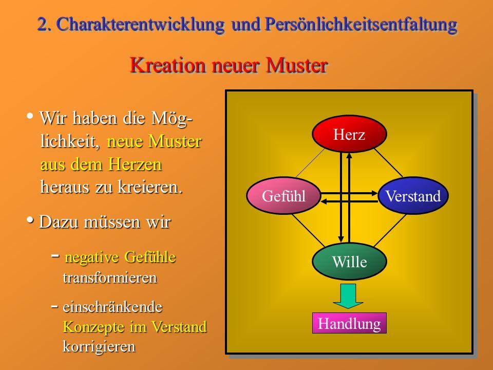 Kreation neuer Muster Wir haben die Mög- lichkeit, neue Muster aus dem Herzen heraus zu kreieren. Dazu müssen wir Dazu müssen wir - negative Gefühle t
