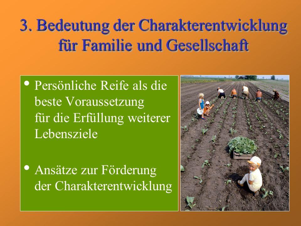 3. Bedeutung der Charakterentwicklung für Familie und Gesellschaft Persönliche Reife als die beste Voraussetzung für die Erfüllung weiterer Lebensziel