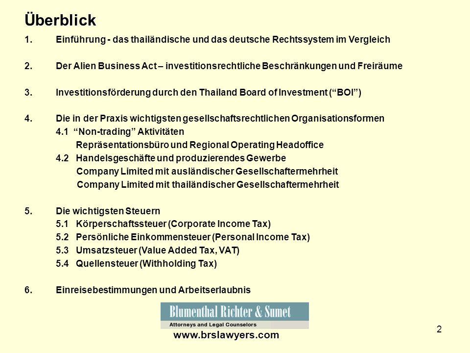 2 1.Einführung - das thailändische und das deutsche Rechtssystem im Vergleich 2.Der Alien Business Act – investitionsrechtliche Beschränkungen und Fre