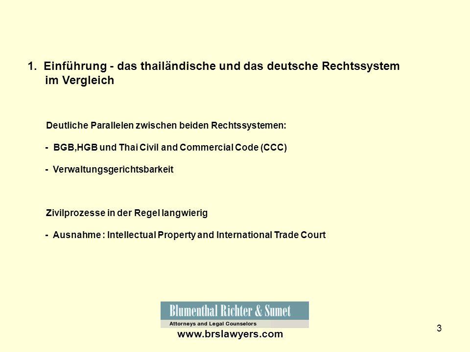 3 1. Einführung - das thailändische und das deutsche Rechtssystem im Vergleich Deutliche Parallelen zwischen beiden Rechtssystemen: - BGB,HGB und Thai