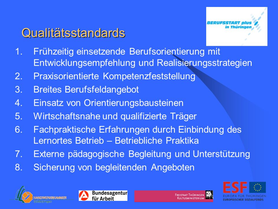 Qualitätsstandards 1.Frühzeitig einsetzende Berufsorientierung mit Entwicklungsempfehlung und Realisierungsstrategien 2.Praxisorientierte Kompetenzfes