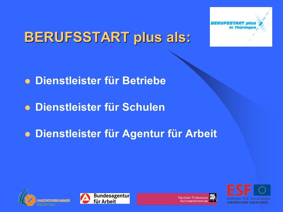 BERUFSSTART plus als: Dienstleister für Betriebe Dienstleister für Schulen Dienstleister für Agentur für Arbeit