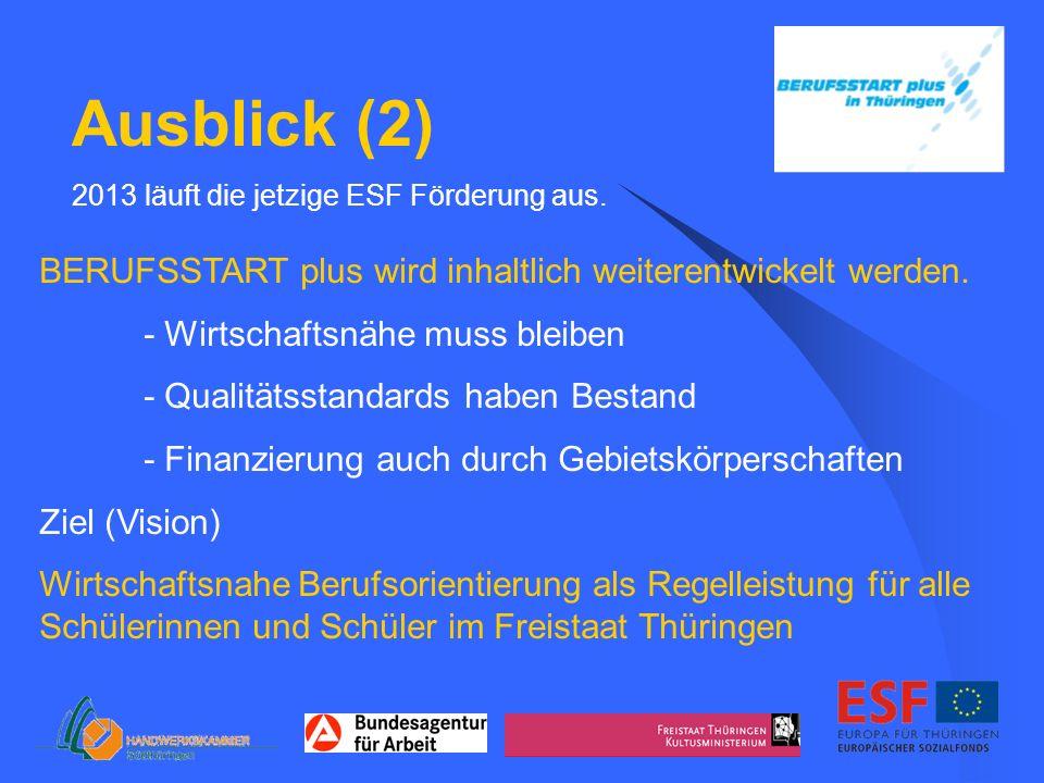 Ausblick (2) 2013 läuft die jetzige ESF Förderung aus.