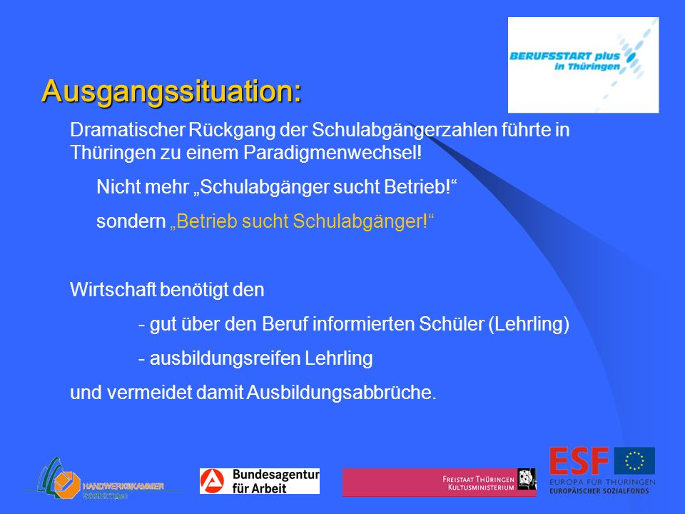 Ausgangssituation: Dramatischer Rückgang der Schulabgängerzahlen führte in Thüringen zu einem Paradigmenwechsel! Nicht mehr Schulabgänger sucht Betrie
