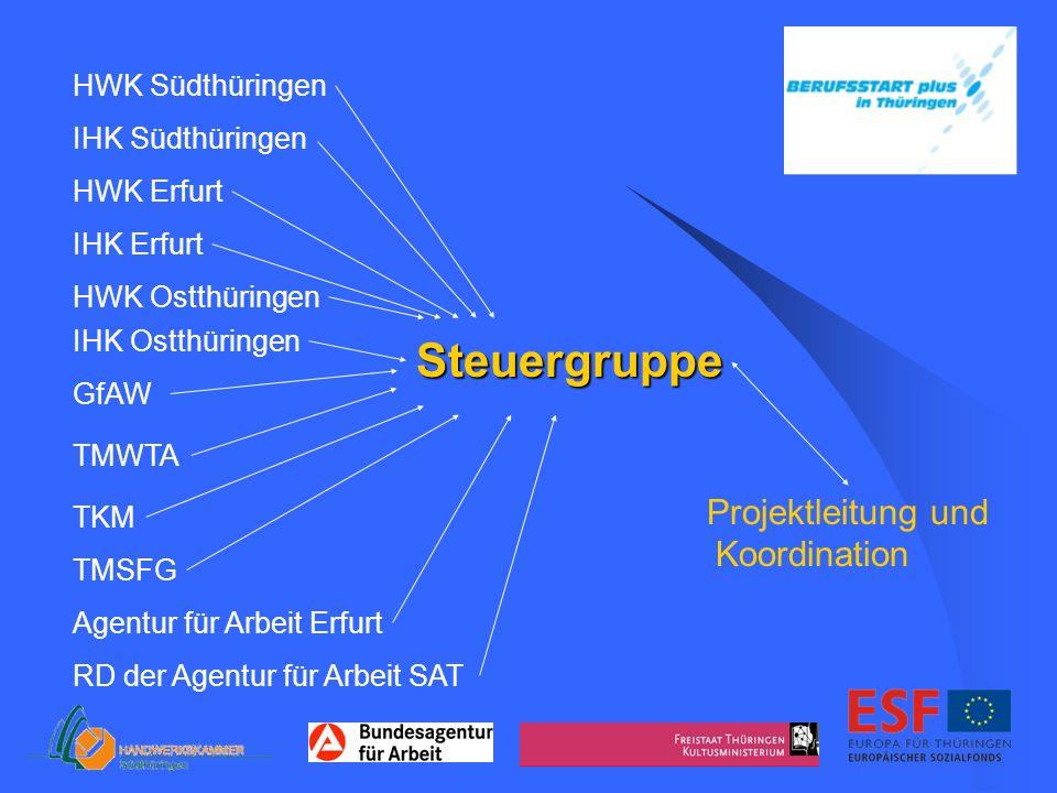 Steuergruppe HWK Südthüringen IHK Südthüringen HWK Erfurt IHK Erfurt HWK Ostthüringen IHK Ostthüringen GfAW TMWTA TKM TMSFG RD der Agentur für Arbeit