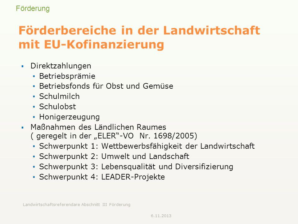 Förderung Landwirtschaftsreferendare Abschnitt III Förderung Förderbereiche in der Landwirtschaft mit EU-Kofinanzierung Direktzahlungen Betriebsprämie Betriebsfonds für Obst und Gemüse Schulmilch Schulobst Honigerzeugung Maßnahmen des Ländlichen Raumes ( geregelt in der ELER-VO Nr.