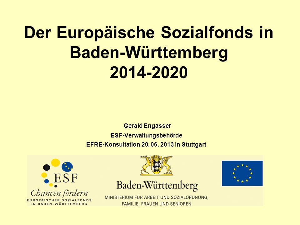 Der Europäische Sozialfonds in Baden-Württemberg 2014-2020 Gerald Engasser ESF-Verwaltungsbehörde EFRE-Konsultation 20. 06. 2013 in Stuttgart