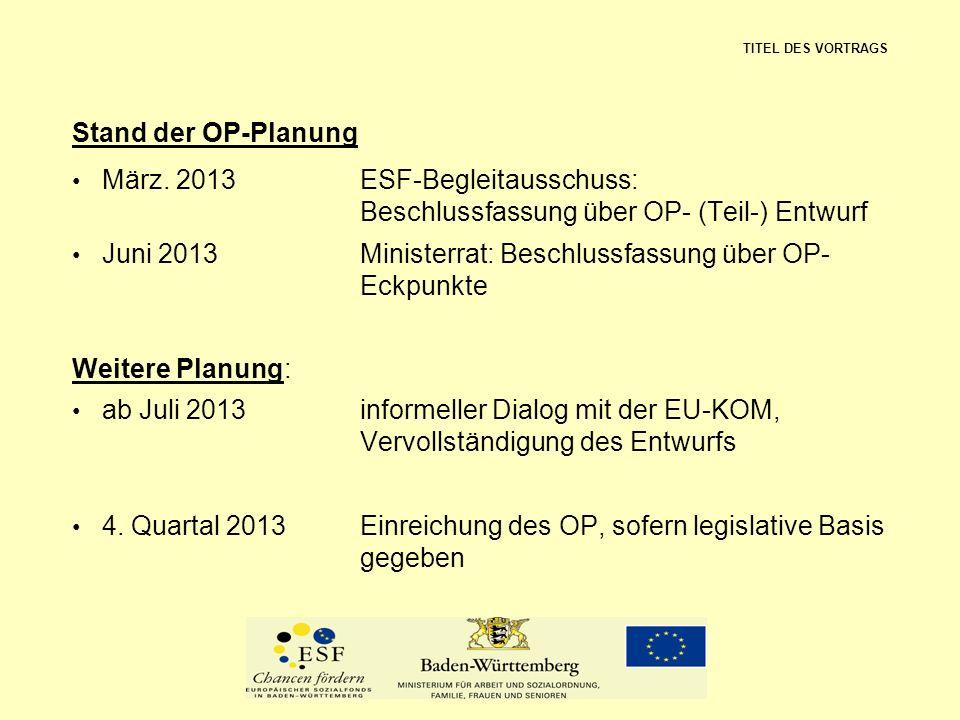 Stand der OP-Planung März. 2013ESF-Begleitausschuss: Beschlussfassung über OP- (Teil-) Entwurf Juni 2013Ministerrat: Beschlussfassung über OP- Eckpunk