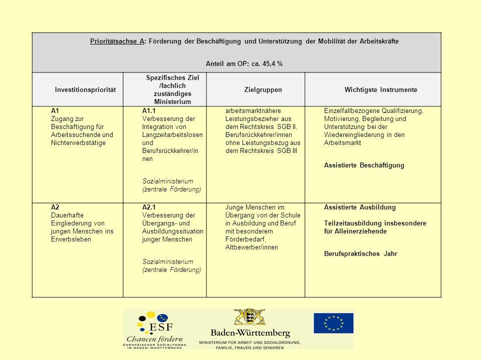Prioritätsachse A: Förderung der Beschäftigung und Unterstützung der Mobilität der Arbeitskräfte Anteil am OP: ca.