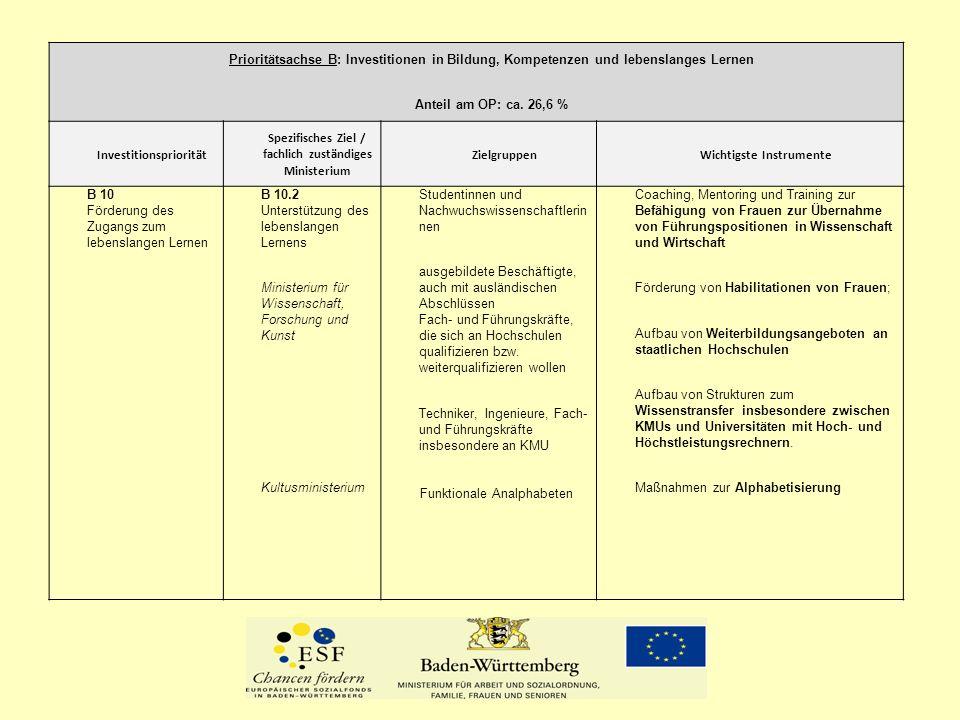 Prioritätsachse C: Förderung der sozialen Eingliederung und Bekämpfung der Armut Anteil am OP: ca.