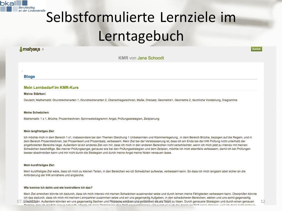 Selbstformulierte Lernziele im Lerntagebuch 07.05.201312Kooperationstag DM | Kurs KSE