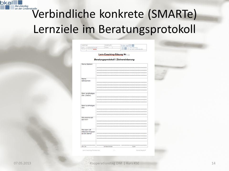 Verbindliche konkrete (SMARTe) Lernziele im Beratungsprotokoll 07.05.201314Kooperationstag DM | Kurs KSE