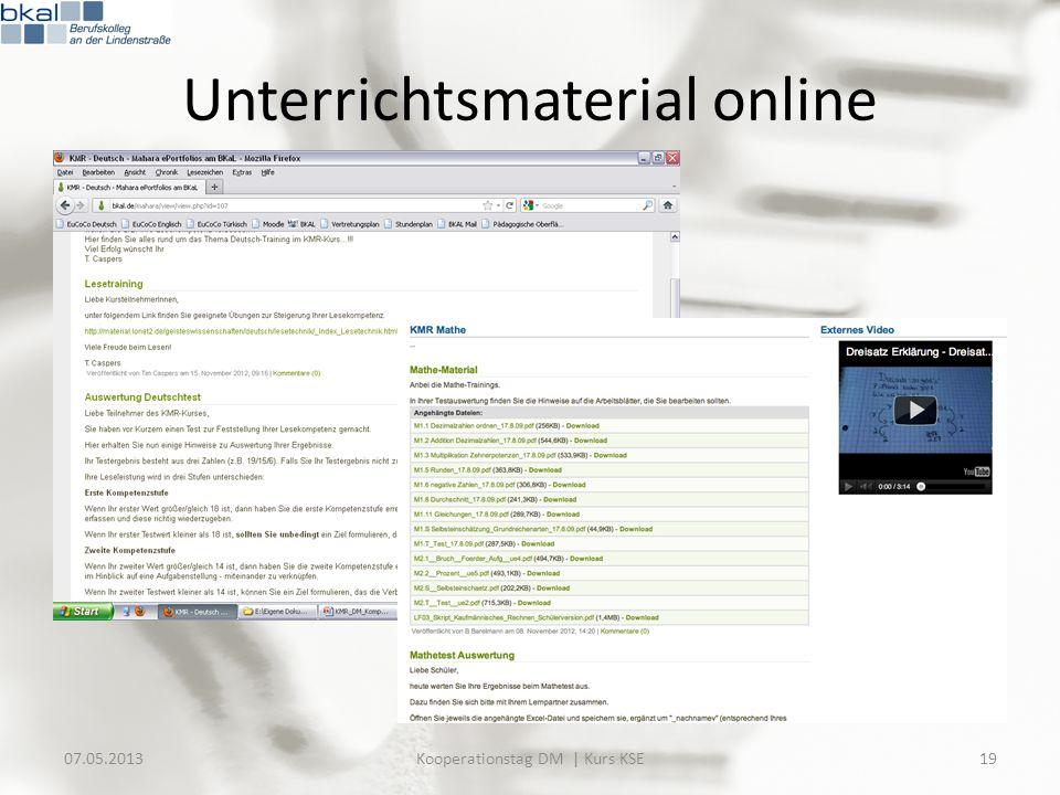 07.05.2013Kooperationstag DM | Kurs KSE19 Unterrichtsmaterial online
