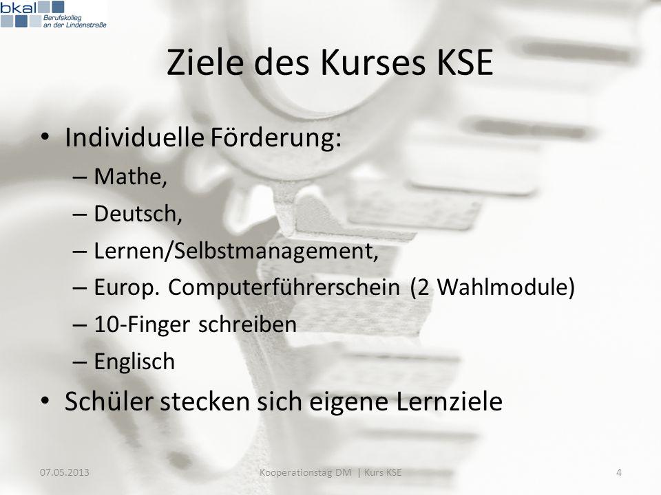 Ziele des Kurses KSE Individuelle Förderung: – Mathe, – Deutsch, – Lernen/Selbstmanagement, – Europ. Computerführerschein (2 Wahlmodule) – 10-Finger s