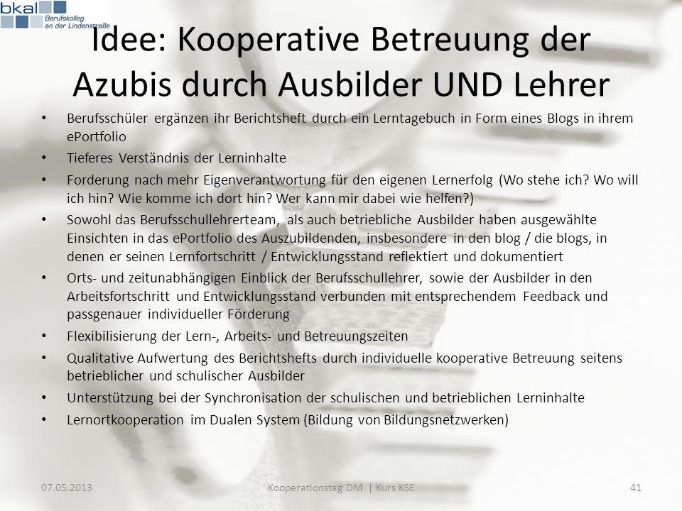 Idee: Kooperative Betreuung der Azubis durch Ausbilder UND Lehrer Berufsschüler ergänzen ihr Berichtsheft durch ein Lerntagebuch in Form eines Blogs i