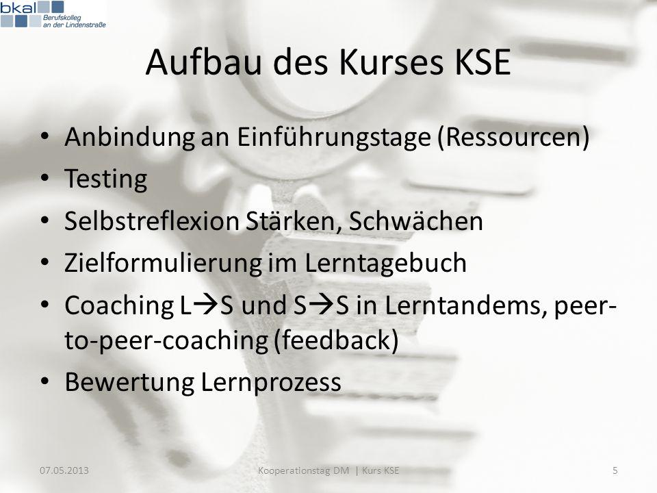 Aufbau des Kurses KSE Anbindung an Einführungstage (Ressourcen) Testing Selbstreflexion Stärken, Schwächen Zielformulierung im Lerntagebuch Coaching L