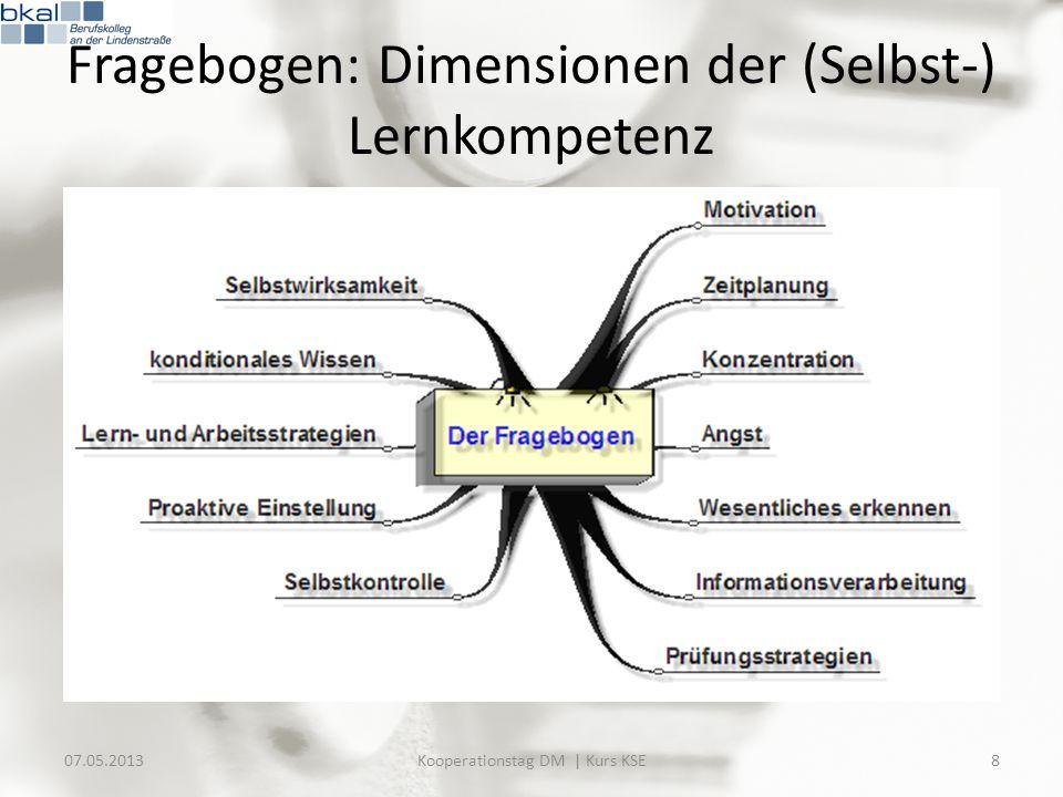 Evaluation: Material 07.05.201329Kooperationstag DM | Kurs KSE