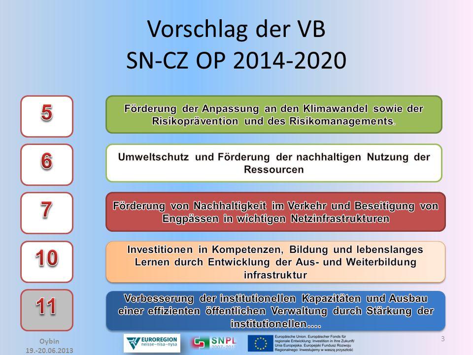 4 Auswahl der EU-Prioritäten Wybór priorytetów UE Vorschlag der VB SN-CZ OP 2014-2020 Euroregion Neisse e.V.
