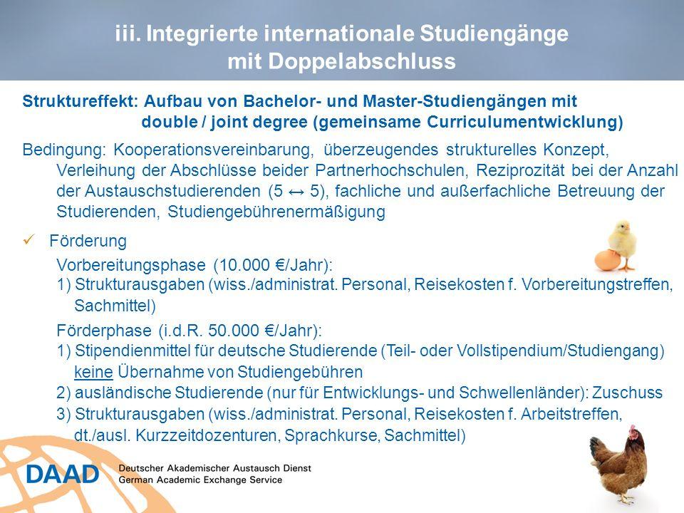 iii. Integrierte internationale Studiengänge mit Doppelabschluss 12 Struktureffekt: Aufbau von Bachelor- und Master-Studiengängen mit double / joint d