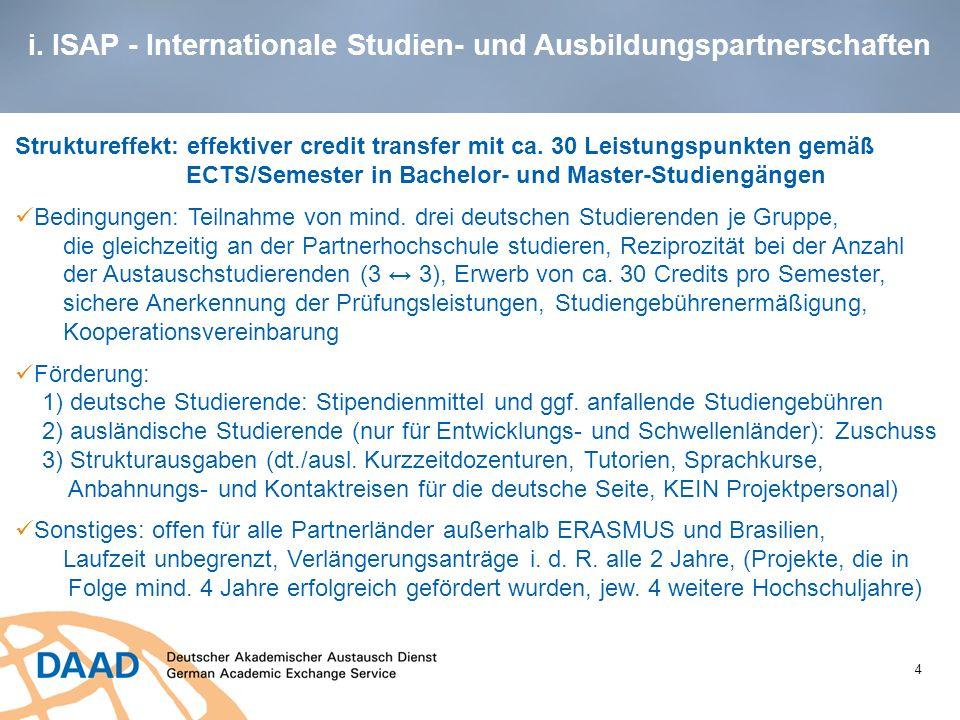 i. ISAP - Internationale Studien- und Ausbildungspartnerschaften 4 Struktureffekt: effektiver credit transfer mit ca. 30 Leistungspunkten gemäß ECTS/S
