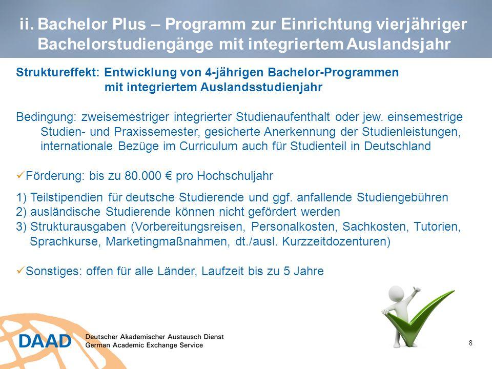 ii. Bachelor Plus – Programm zur Einrichtung vierjähriger Bachelorstudiengänge mit integriertem Auslandsjahr 8 Struktureffekt: Entwicklung von 4-jähri