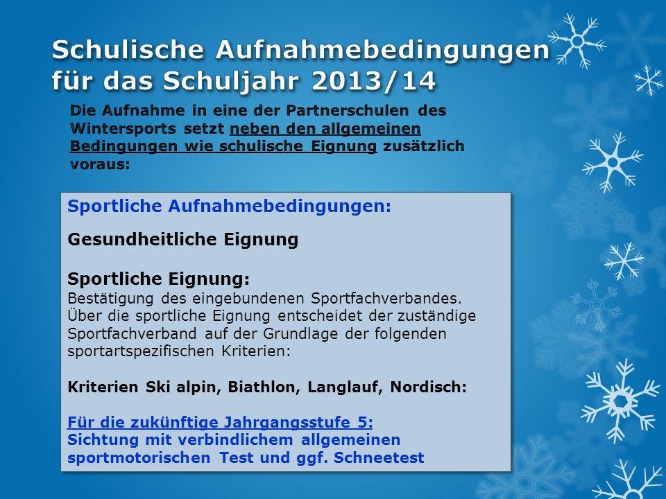 Kriterien Ski alpin: Platzierung in der DSV-Jahrgangsliste bzw.