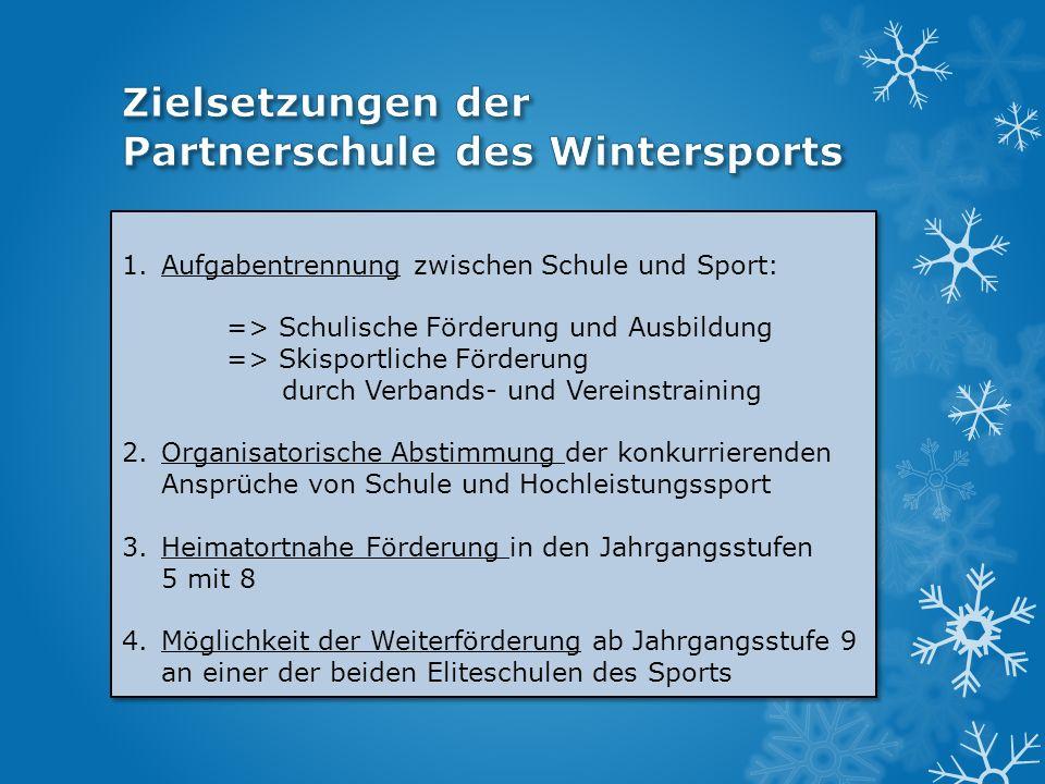 1.Aufgabentrennung zwischen Schule und Sport: => Schulische Förderung und Ausbildung => Skisportliche Förderung durch Verbands- und Vereinstraining 2.