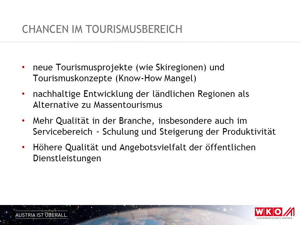 CHANCEN IM TOURISMUSBEREICH neue Tourismusprojekte (wie Skiregionen) und Tourismuskonzepte (Know-How Mangel) nachhaltige Entwicklung der ländlichen Re