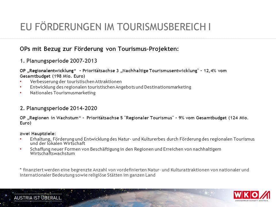 EU FÖRDERUNGEN IM TOURISMUSBEREICH I OPs mit Bezug zur Förderung von Tourismus-Projekten: 1. Planungsperiode 2007-2013 OP Regionalentwicklung - Priori